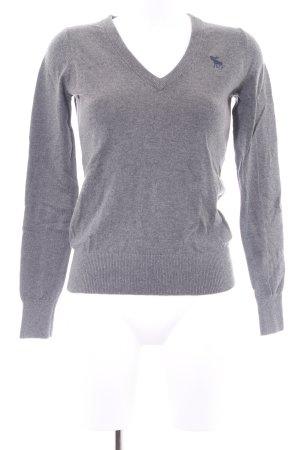 Abercrombie & Fitch V-Ausschnitt-Pullover grau-dunkelblau Business-Look