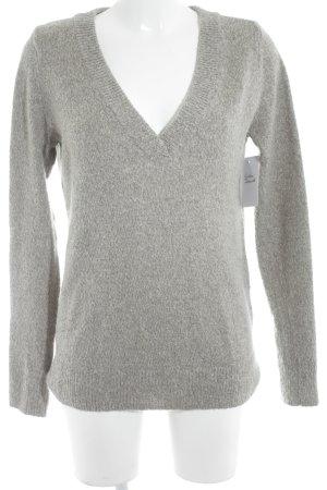 Abercrombie & Fitch V-Ausschnitt-Pullover grau Kuschel-Optik