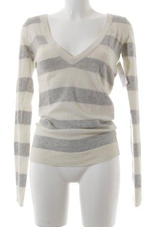 Abercrombie & Fitch V-Ausschnitt-Pullover hellgrau-creme meliert Casual-Look