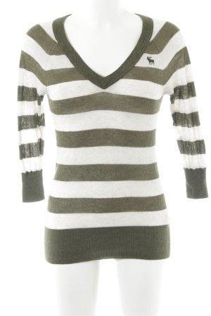 Abercrombie & Fitch V-Ausschnitt-Pullover khaki-wollweiß Streifenmuster