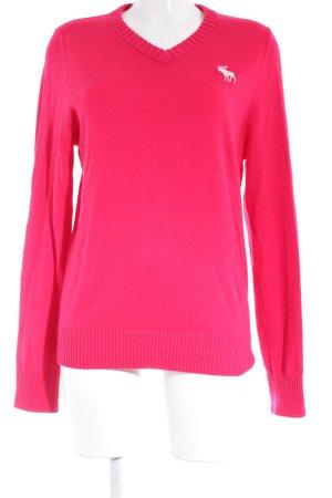 Abercrombie & Fitch V-Ausschnitt-Pullover magenta-weiß Casual-Look