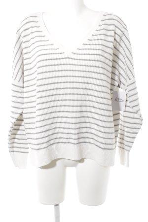 Abercrombie & Fitch V-Ausschnitt-Pullover weiß-hellgrau Streifenmuster