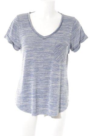 Abercrombie & Fitch Camisa con cuello V azul acero-crema estilo deportivo