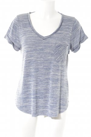 Abercrombie & Fitch V-hals shirt staalblauw-room atletische stijl
