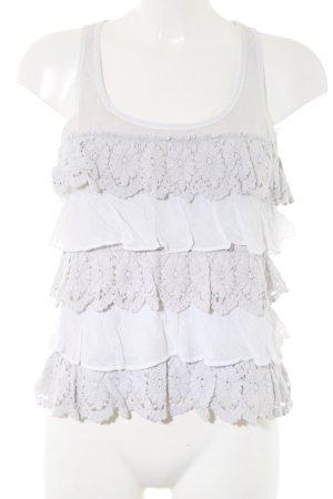 Abercrombie & Fitch Top con balze bianco-grigio chiaro stile casual