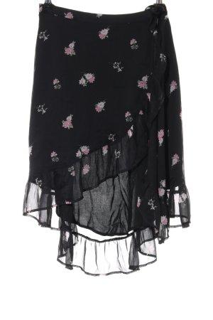 Abercrombie & Fitch Wickelrock schwarz-pink Blumenmuster extravaganter Stil