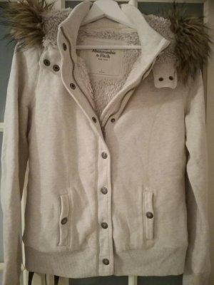Abercrombie & Fitsch Sherpa Jacke Gr.L TOP!!!! beige Elch Fake Fur Fell