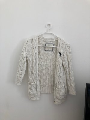 Abercrombie & Fitch Coarse Knitted Jacket white cotton