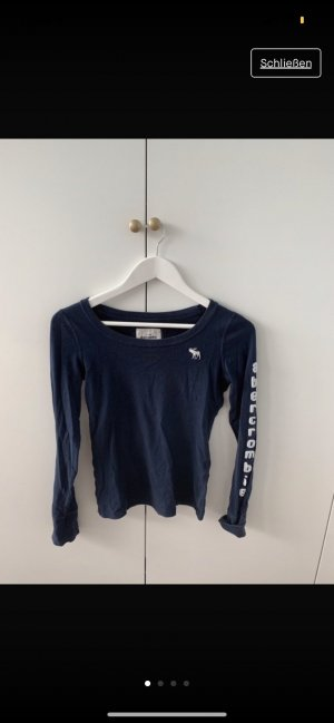 Abercrombie & Fitch Short Sleeve Sweater white-dark blue