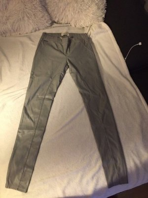 Abercrombie & Fitch Leather Trousers dark grey-anthracite imitation leather