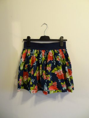 Abercrombie & Fitch Miniskirt dark blue-raspberry-red cotton