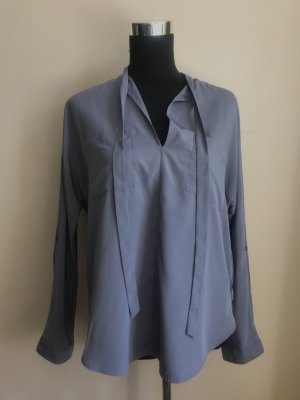 Abercrombie & Fitch Tie-neck Blouse steel blue