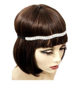 Haarband zilver-zwart Glas