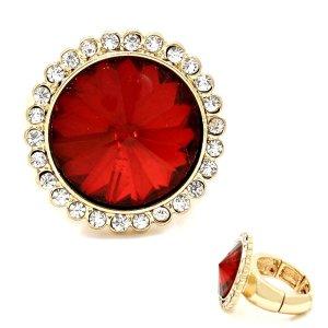 ABi Ball Abendschmuck Ring Cocktail Elastik Stretch Kristall Rot Klar Transparent 2,4 cm Durchm