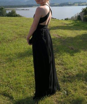 Abiballkleid Abschlussballkleid schwarz rückenfrei Kreuzträger Gröse 34