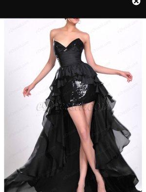 Abiballkleid Glamour ball Abendkleid Kleid schwarz tailliert  Mini schleppe Glitzer vorn kurz hinten lang schulterfrei robe ballkleid