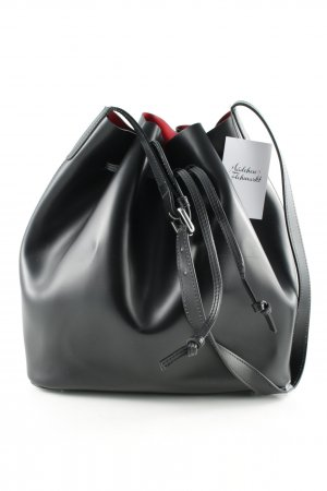 "abro Pouch Bag ""Carmen Calf Leather Bucket Bag Black/Red"""