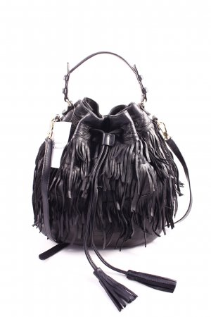 "abro Beuteltasche ""Velvet Fringed Bucket Bag Calf Black"" schwarz"