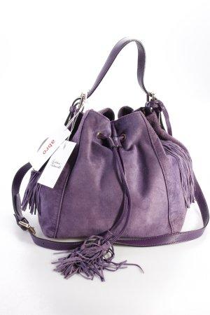 Abro Bucket-Bag Handbag Leather Velour Purple Wildleder