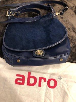 Abro echt Leder Tasche mit Fell blau und Staubbeutel