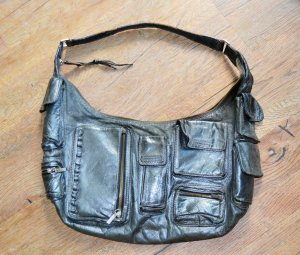 abro Handbag silver-colored leather
