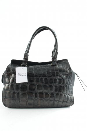 "abro Handtas ""Borreale Handbag Goat Leather Croc Zinc"" zwart bruin"