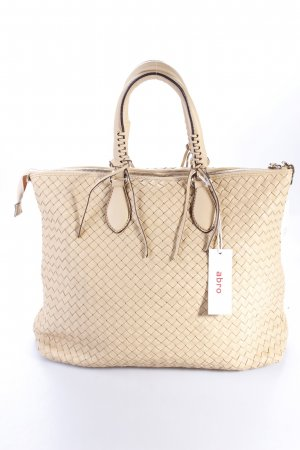 Abro Handtasche Handbag Leather Pluma Woven Natural sandfarben