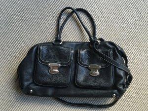 Abro Handtasche in schwarz mit Silberschnallen