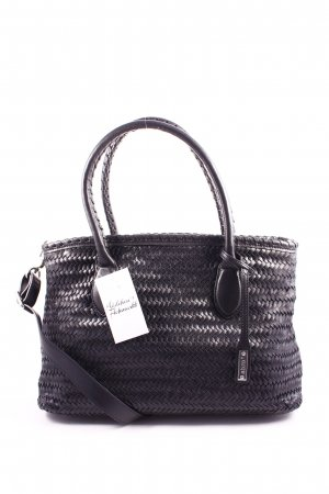 "abro Handtasche ""Nuvola Braid Handbag Leather Black / Nickel"" schwarz"