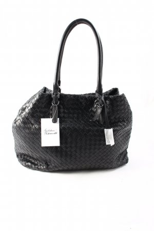 "abro Handtasche ""Piuma Braided Shopping Bag Black/Guncolor"" schwarz"