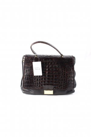 "abro Handtas ""Zoe Croc Calf Leather Handbag Dark Brown"" donkerbruin"