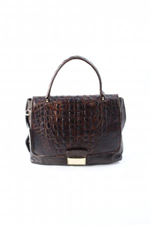 "abro Handbag ""Zoe Croc Calf Leather Handbag Small Dark Brown"" dark brown"