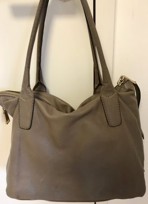abro Carry Bag grey brown-silver-colored leather