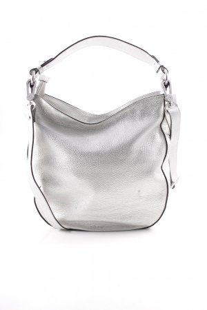 """abro Carry Bag """"Shimmer Leather Hobo Bag White / Whitegold"""" silver-colored"""