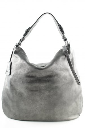 "abro Hobotas ""Adria Leather Hobo Bag Silver"" zilver"