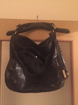 ABRO Hobo-Tasche in schwarzem Krokoleder