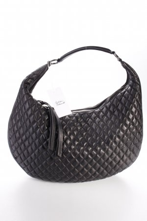 Abro Hobo-Tasche Pluma Trapuntata Leather Black/Guncolor abgesteppt