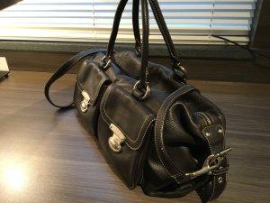 Abro Leder Schultertasche in Schwarz