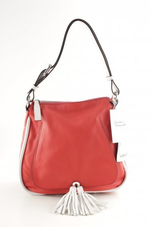 "abro Shoulder Bag ""Leather Velvet Tassel Shoulder Bag Poppy red/white """