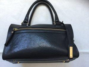 ABRO Tasche (Bowlingbag) in schwarzem Leder, mit Gold, wie neu