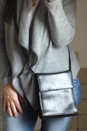Abro Tasche, kleine Umhängetasche, echtes Leder,schwarz, 2 Fächer innen, 2 Zipp Innentaschen, eckig, kleine Theatertasche, goldene Schnalle, Druckknopf, bester Zustand