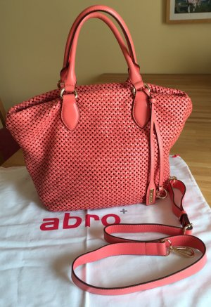 Abro Vegetable Woven Shopper Leder koral