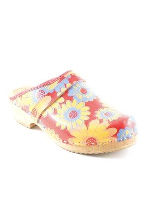 Heel Pantolettes flower pattern extravagant style