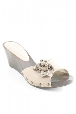 Heel Pantolettes dark brown-beige wooden look