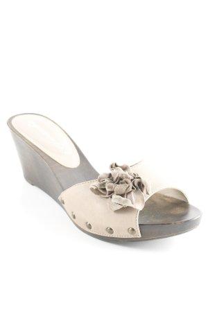 Heel Pantolettes dark brown-beige wooden look