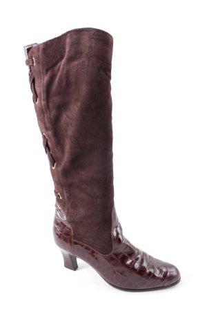 Laarzen met hak cognac-donkerbruin country stijl