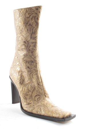 Laarzen met hak goud abstract patroon extravagante stijl