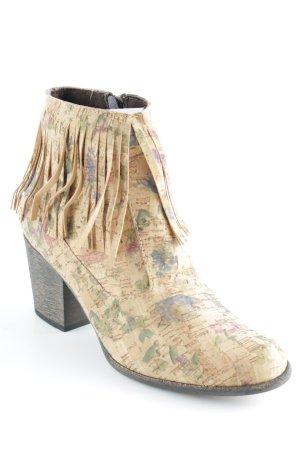 Absatz Stiefel hellbraun florales Muster Hippie-Look