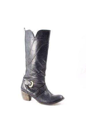 Absatz Stiefel schwarz-goldfarben Country-Look