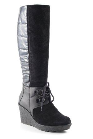 Absatz Stiefel schwarz Steppmuster Casual-Look